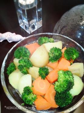 レンジ美人で蒸し野菜