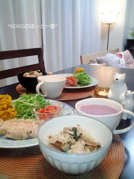母のカキ飯とココナッツ風味の紫芋ポタージュ