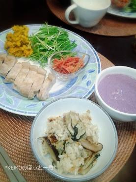 母のカキ飯とココナッツ風味の紫芋ポタージュ4