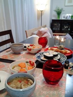 お土産巻き寿司と水仙の香り