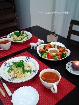 菜の花パスタとカラフルサラダにスープ