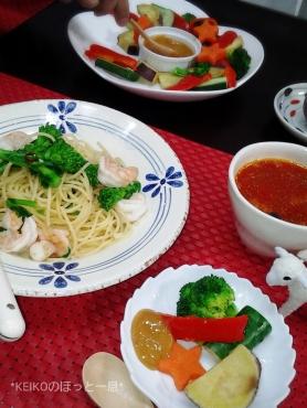 菜の花パスタとカラフルサラダにスープ3
