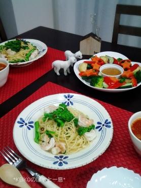 菜の花パスタとカラフルサラダにスープ2