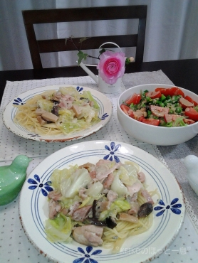 鶏肉のクリーム煮リメイクパスタ