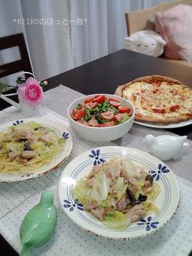 鶏肉のクリーム煮リメイクパスタとピザ2