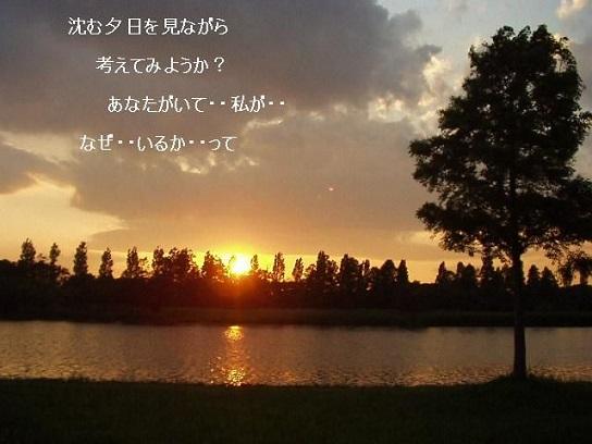 沈む夕日を