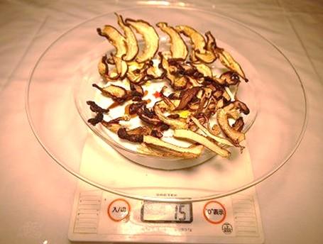 食品乾燥機で6時間乾燥の椎茸