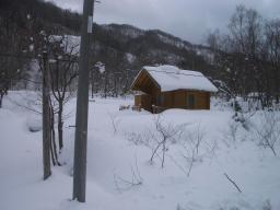 ログハウス除雪前