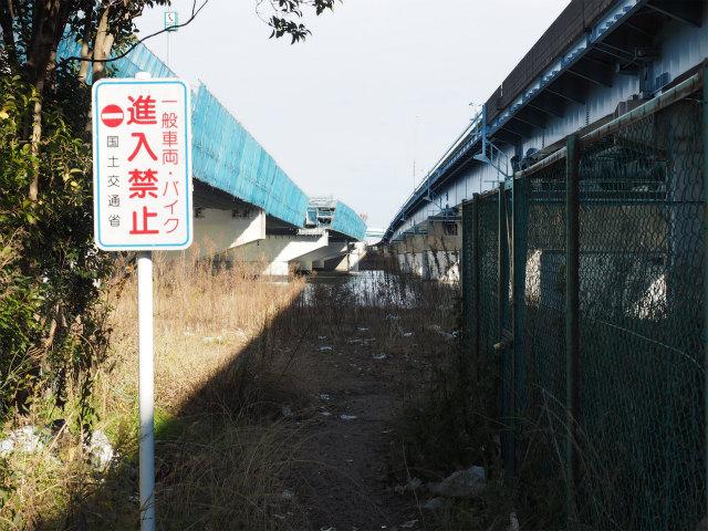 江戸川右岸から。左側は専用部合流ランプ末端になるのかな?