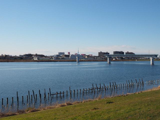 妙典橋。江戸川の一部だけ架設済み。