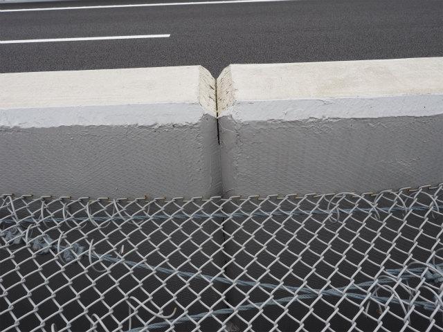 高欄に剥離防止用の膜でも張った上から、コーティングがしてあるようです。