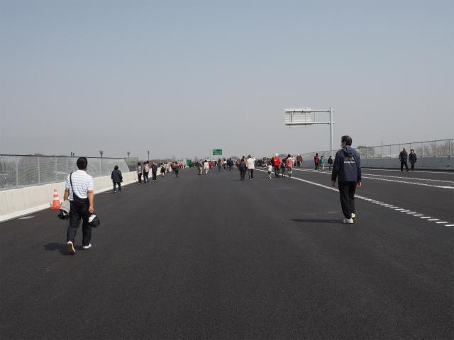広い路肩。五霞方面へ向かう高架橋がこの先でなくなります。