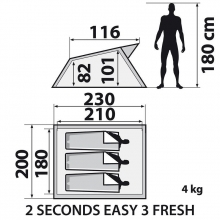 2SECONDS EASY 3 FRESH ポップアップテント 大きさ