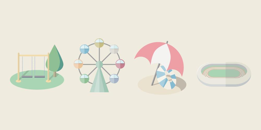 フラットデザインの遊び場イラスト