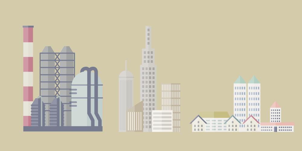 工場と都会の街並みと住宅街を並べたイラスト