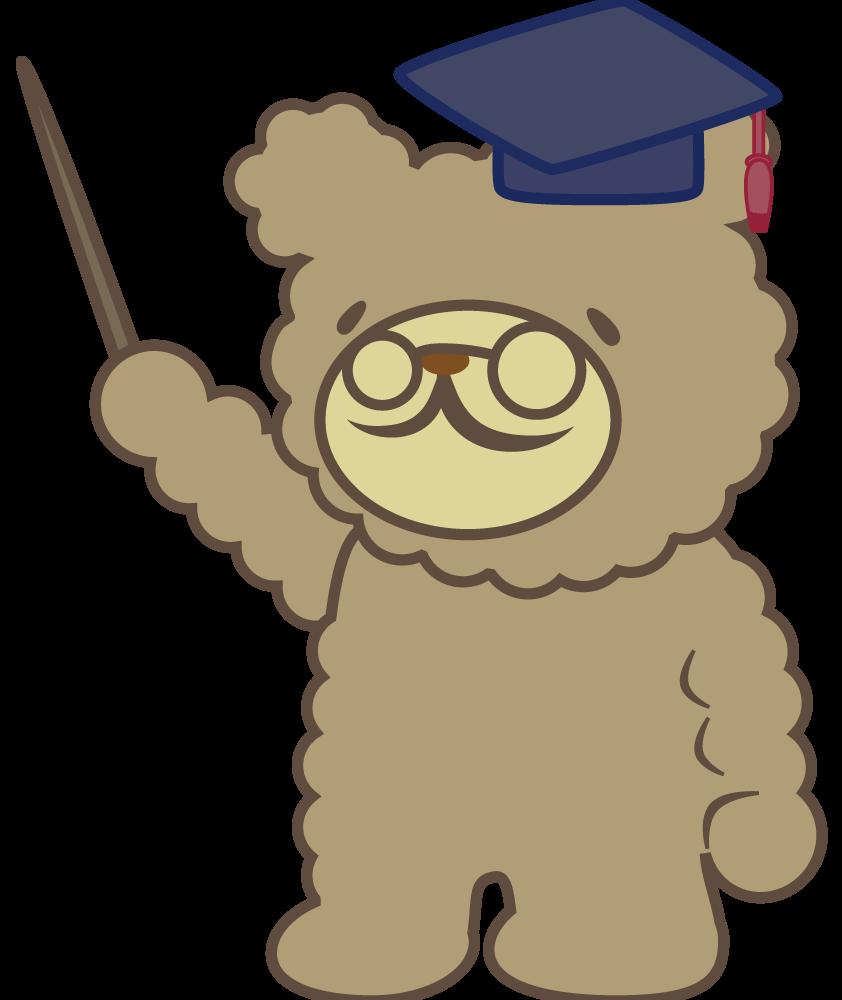 クマの先生キャラクター・・・png背景透過フリー素材 - マップラボ-地図