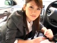 路上教習中に誘惑して車内フェラしちゃう美人すぎる痴女教官