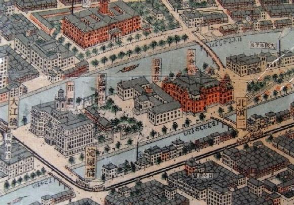 中之島鳥瞰図 1923年(大正12年)