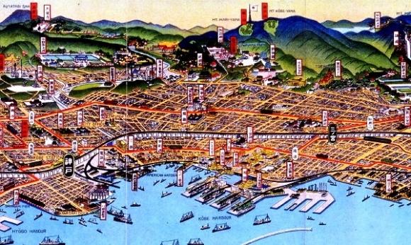 吉田初三郎『大神戸市を中心とせる名所鳥瞰図絵(神戸三ノ宮部分)』