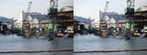 ファンタジー号からの眺め 川崎造船神戸工場 海上自衛隊JS Kokuryu, SS-506 そうりゅう型潜水艦6番艦「こくりゅう」(平行法)