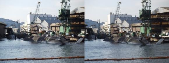 ファンタジー号からの眺め 川崎造船神戸工場 海上自衛隊JS Kokuryu, SS-506 そうりゅう型潜水艦6番艦「こくりゅう」(交差法)
