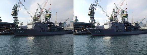 ファンタジー号からの眺め 川崎造船神戸工場 海上自衛隊ASR-403潜水艦救難母艦「ちはや」(平行法)