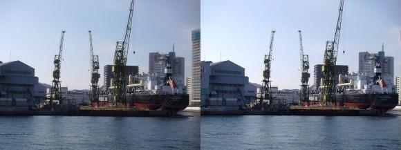 ファンタジー号からの眺め 川崎造船神戸工場 55型バルカー(撒積貨物船)「AMIS ELEGANCE」(平行法)