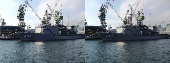 ファンタジー号からの眺め 川崎造船神戸工場 海上自衛隊ASR-403潜水艦救難母艦「ちはや」(交差法)