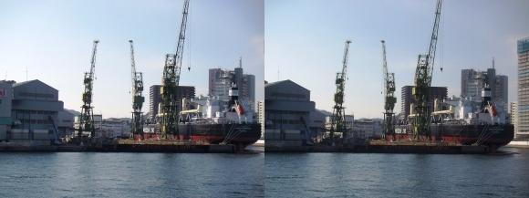 ファンタジー号からの眺め 川崎造船神戸工場 55型バルカー(撒積貨物船)「AMIS ELEGANCE」(交差法)