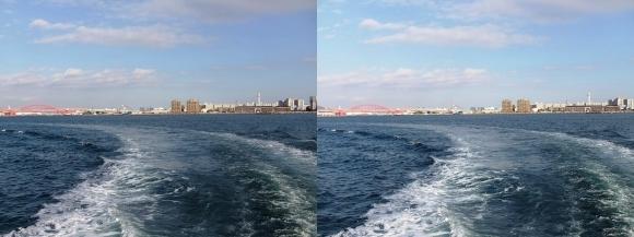 ファンタジー号からの眺め 神戸大橋・ポートアイランド(平行法)