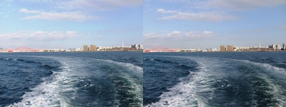 ファンタジー号からの眺め 神戸大橋・ポートアイランド(交差法)