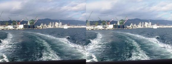 ファンタジー号からの眺め 川崎造船神戸工場・ 神戸コンチェルト(平行法)