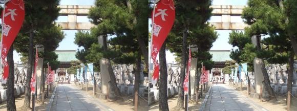 赤穂大石神社 参道の鳥居から神門(平行法)