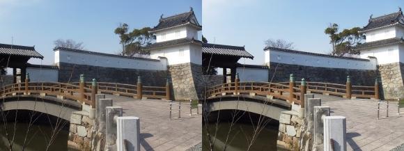 赤穂城跡 隅櫓と大手門(平行法)