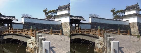 赤穂城跡 隅櫓と大手門(交差法)