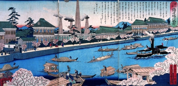 浪花川崎鋳造場の風景 長谷川小信 1872年(明治4年)