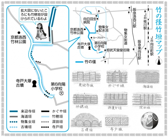 竹の径 竹垣マップ