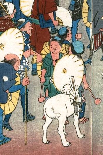 『伊勢参宮 宮川の渡し』おかげ犬と抜け参り