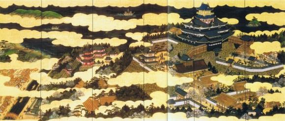 「屏風絵風陶板壁画(安土・南蛮図)」の内「安土城之図」