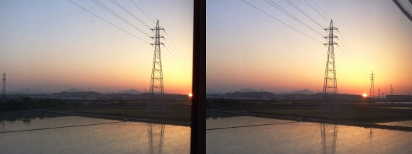 近鉄特急からの夕陽②(交差法)