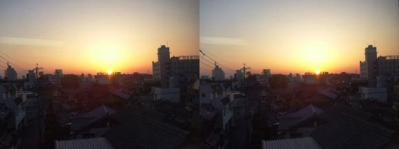 近鉄特急からの夕陽①(平行法)