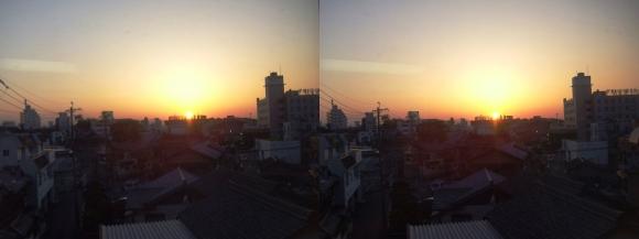 近鉄特急からの夕陽①(交差法)