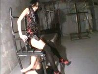 顔面騎乗拷問椅子に束縛されて尻とま○こで圧迫されるM男xHamster