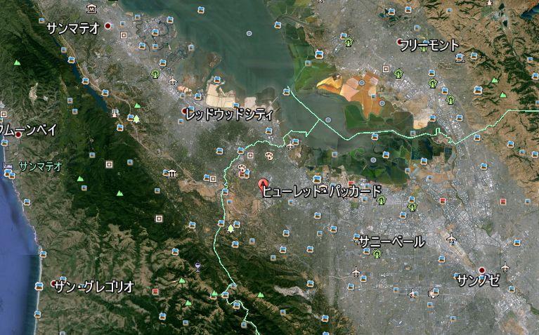 ヒューレット・パッカードとその周辺 Google Earth による
