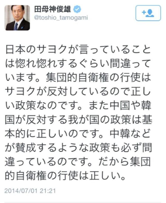 田母神ネトウヨ発言