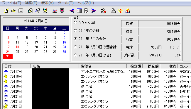 パチスロ収支ファイル.slo-パチ管 2011年7月 アップ画像