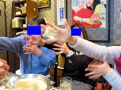 鍋奉行O氏を応援する、飲み友Y氏と、Yさん、Kさん