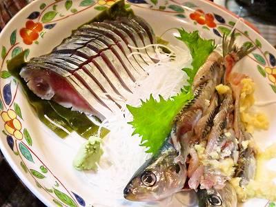 鰯と鯖の刺身