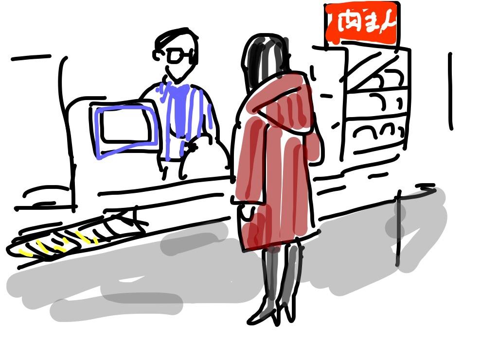 海浜幕張駅のローソンで買い物をするコンパニオン嬢