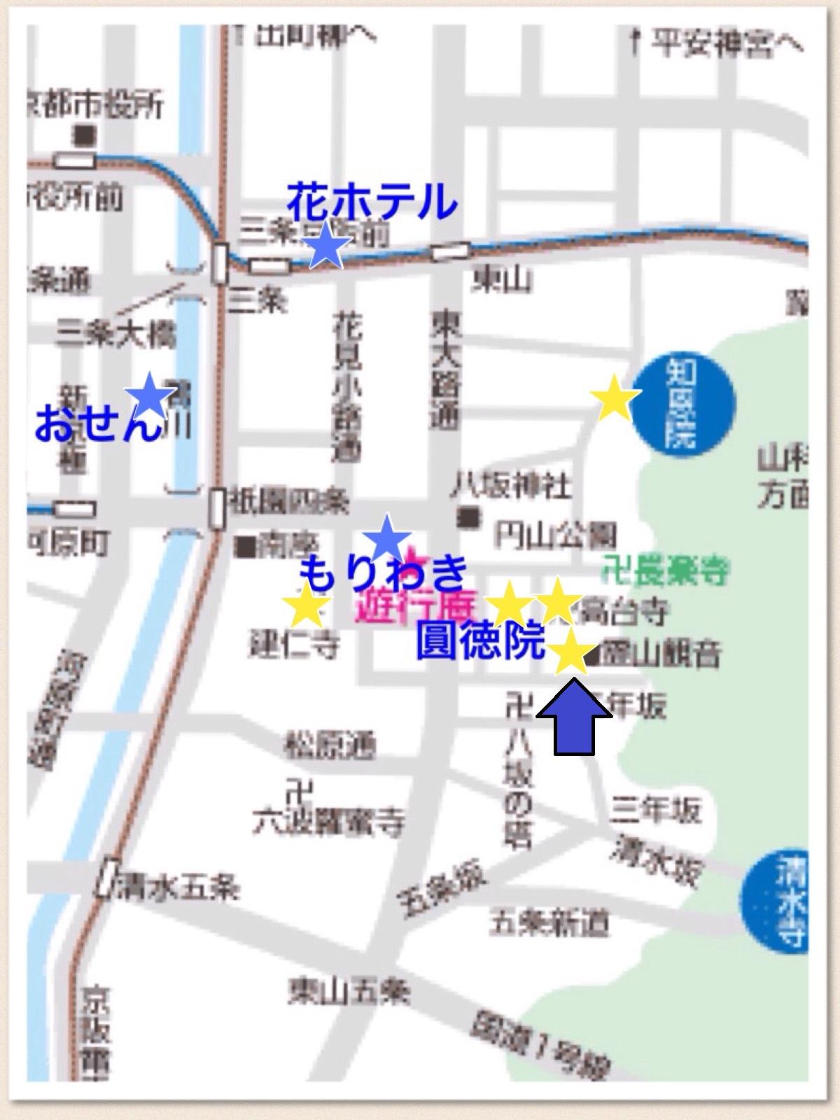 京都 祇園エリアマップ 霊山観音